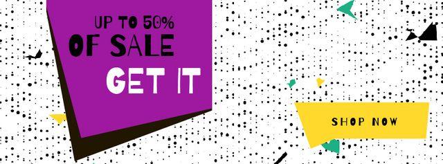 Sale Announcement on colorful geometric Frame Facebook Video cover – шаблон для дизайну