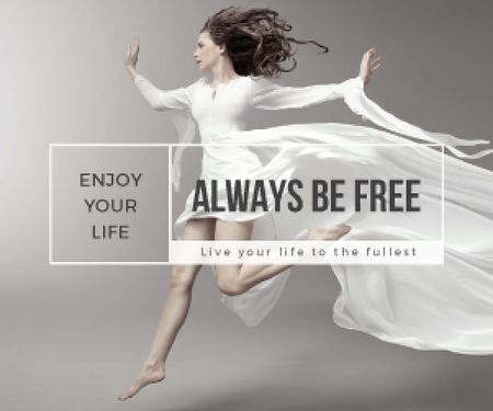 Inspiration Quote Woman Dancer Jumping Medium Rectangle Design Template