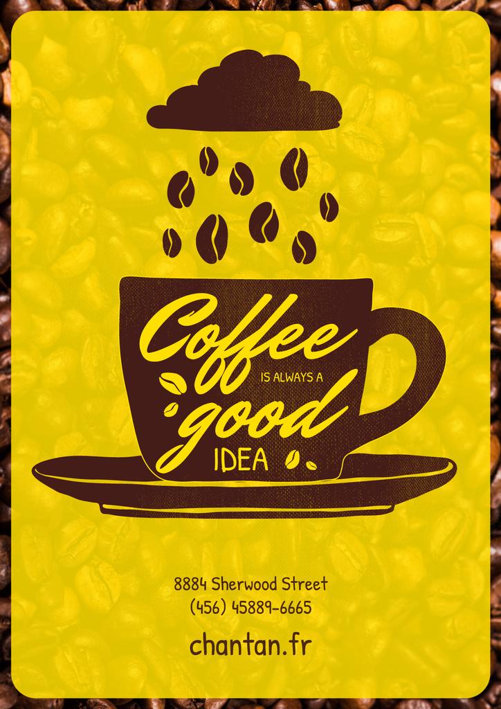 Cafe Invitation Coffee Cup with Beans — ein Design erstellen