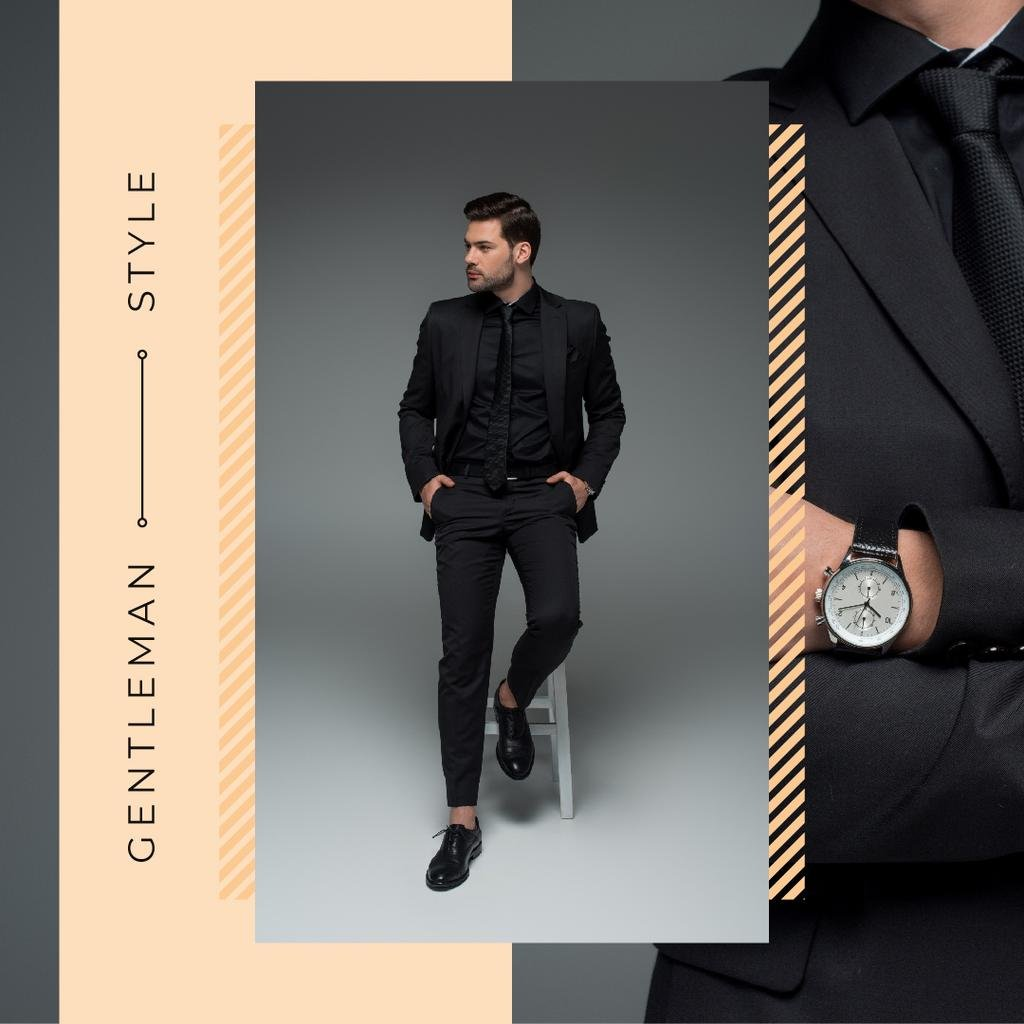 Handsome man wearing Suit and Watch — Modelo de projeto