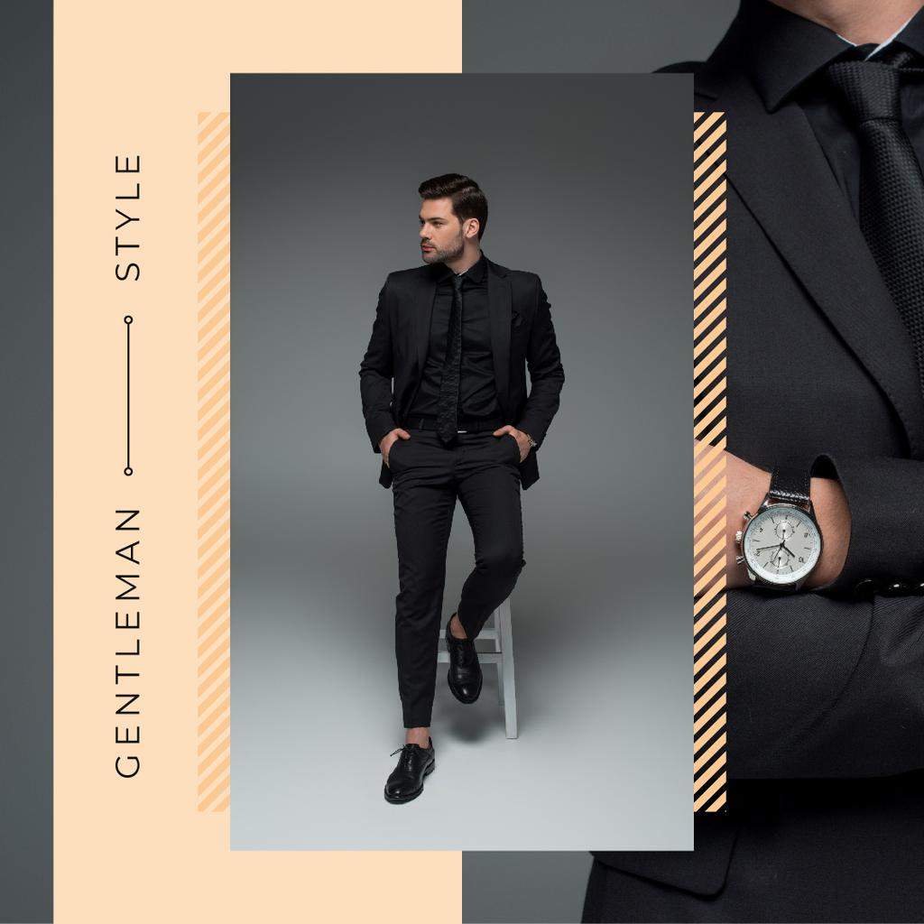 Handsome man wearing suit — Crea un design