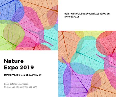Template di design Nature Expo announcement with colorful leaves Facebook