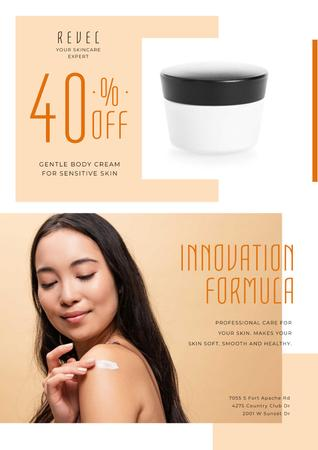 Plantilla de diseño de Cosmetics Sale with Woman Applying Cream Poster