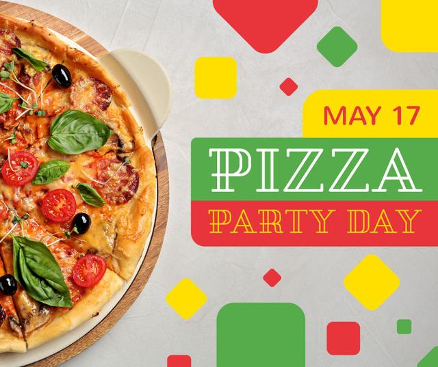 Plantilla de diseño de Pizza Party Day hot dish Facebook