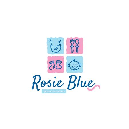 Ontwerpsjabloon van Logo van Kids' Products Ad in Blue and Pink