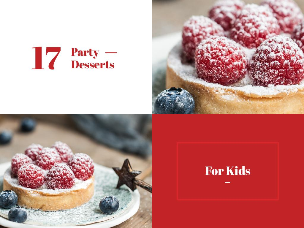 Kids Party Desserts Sweet Raspberry Tart — Crear un diseño