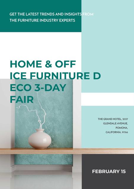 Template di design International furniture show Annoucement Poster