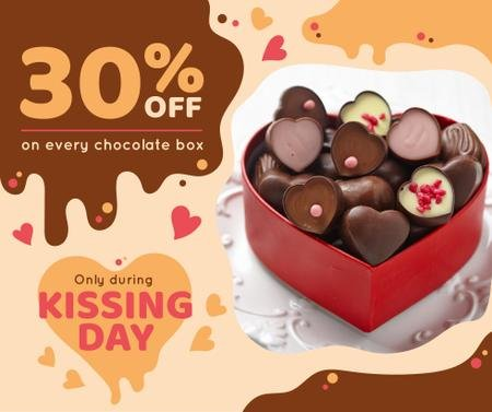 Plantilla de diseño de Kissing Day Present Box with Chocolates Facebook