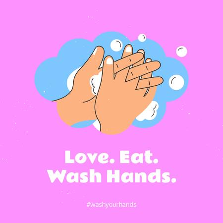 Plantilla de diseño de Coronavirus awareness with Hand Washing rules Instagram