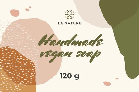Plantilla de diseño de Handmade Soap on watercolor pattern Label