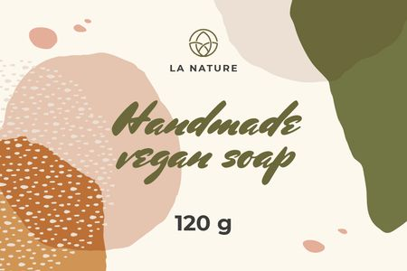 Designvorlage Handmade Soap on watercolor pattern für Label