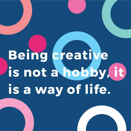 Creativity Quote on Colorful circles pattern Instagram AD – шаблон для дизайна