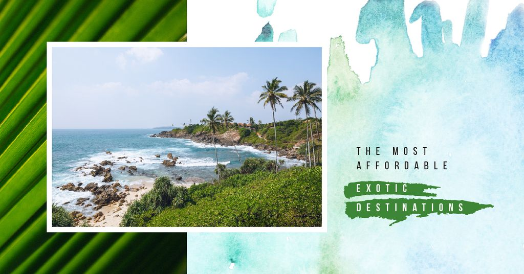 Template di design Tropical Vacation Offer Turquoise Sea Water at Coast Facebook AD