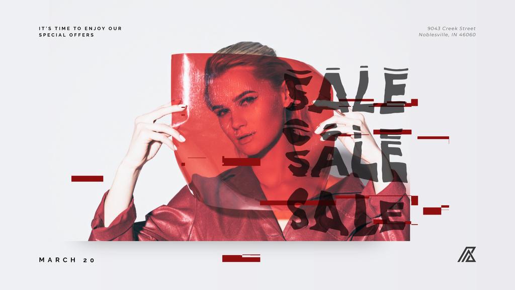 Young woman behind red glass — Создать дизайн