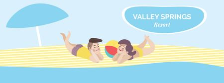 Ontwerpsjabloon van Facebook Video cover van Couple resting on beach