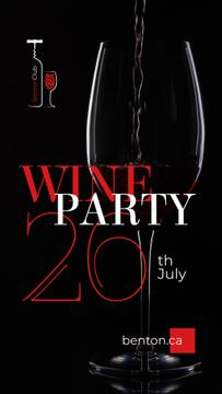 Party Announcement with Red Wine Pouring in Glass