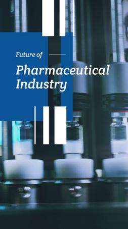 Pharmaceutical Industry with Medicine on production line Instagram Video Story Modelo de Design