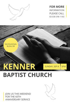 Plantilla de diseño de Baptist Church with Prayer Pinterest