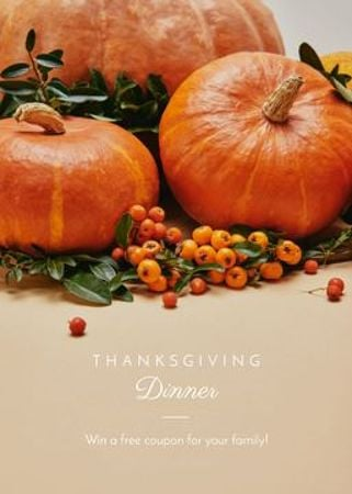 Thanksgiving Dinner Pumpkins and Berries Flayer Modelo de Design