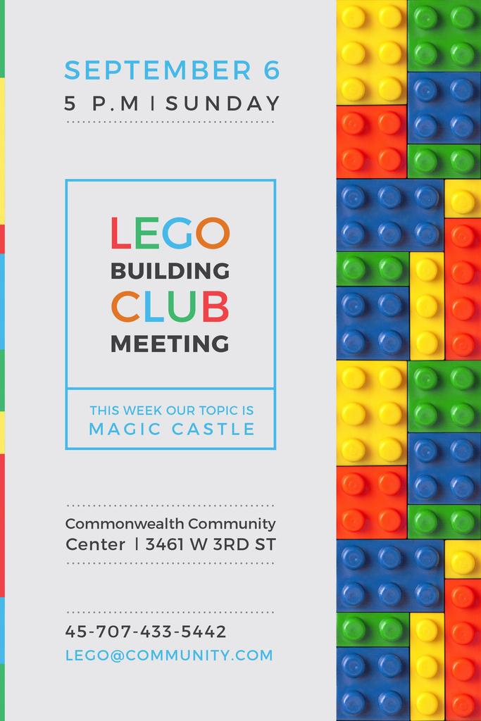 Lego Building Club Meeting Constructor Bricks | Pinterest Template — Créer un visuel