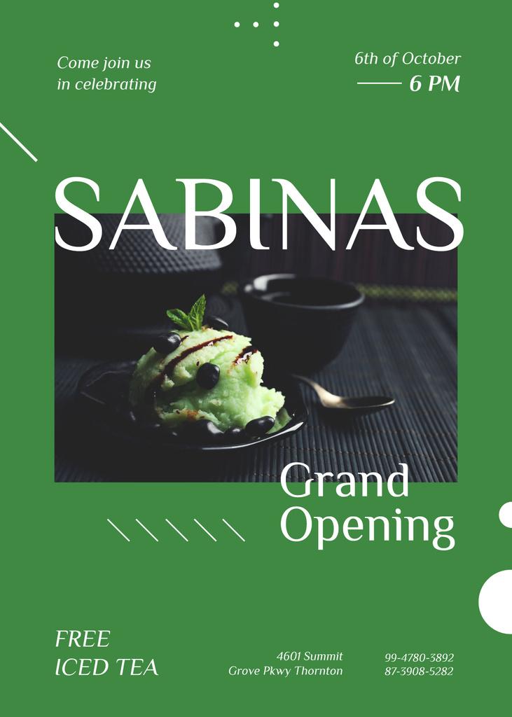 Green ice-cream ball at Cafe opening — Créer un visuel