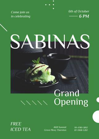 Plantilla de diseño de Green ice-cream ball at Cafe opening Invitation