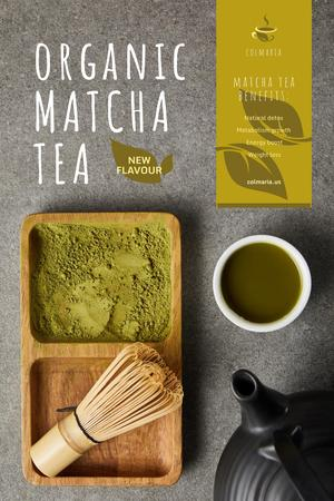 Designvorlage Matcha Tea Offer with Utensils and Powder für Pinterest