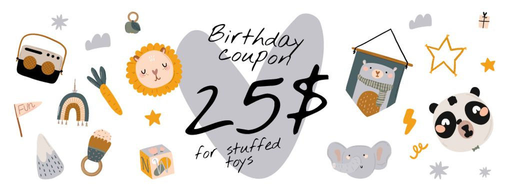 Birthday Offer with Cute Toys — Створити дизайн