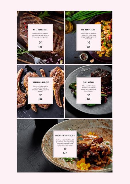 Plantilla de diseño de Meat Steaks variety Menu