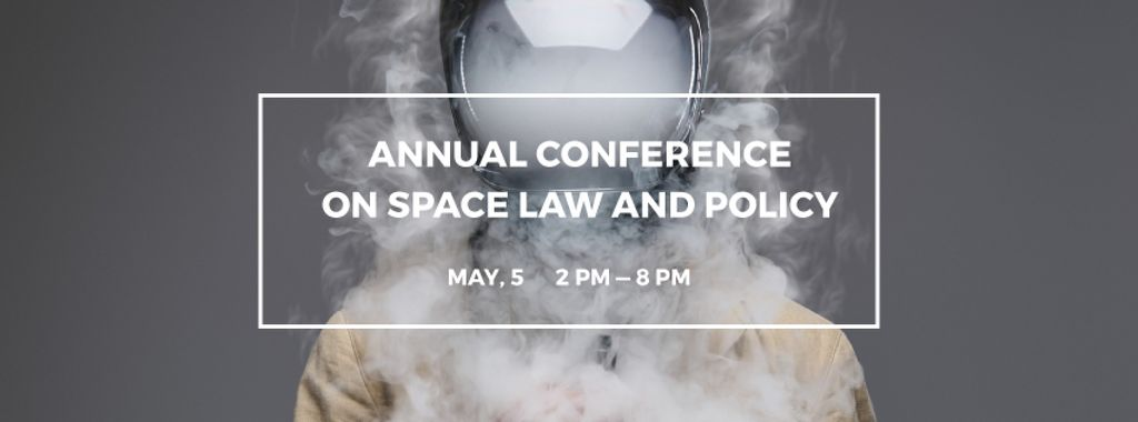 Space Conference Announcement Man in Spacesuit Surrounded by Smoke — Maak een ontwerp