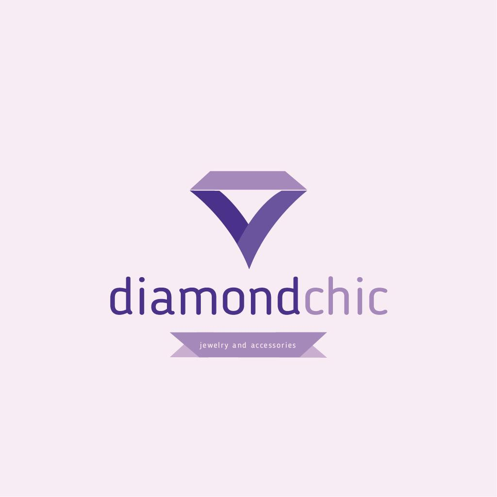 Jewelry Ad with Diamond in Purple Logo Design Template