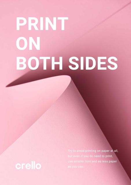 Paper Saving Concept with Curved Sheet in Pink Poster Tasarım Şablonu