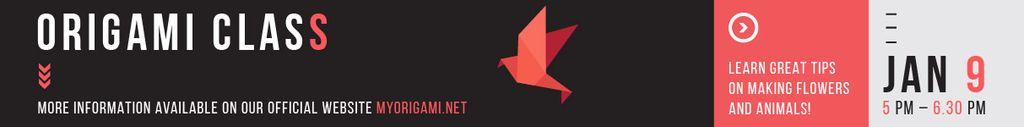 Origami Classes Invitation Paper Bird in Red Leaderboard Modelo de Design
