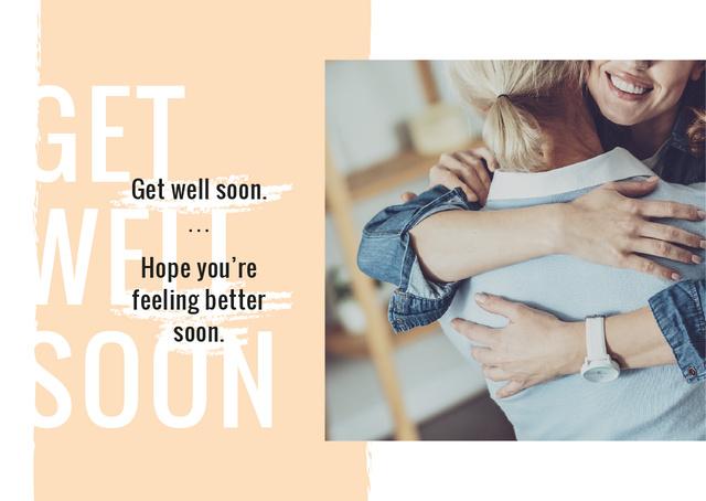 Plantilla de diseño de Recovery Wishing with Two women hugging Postcard