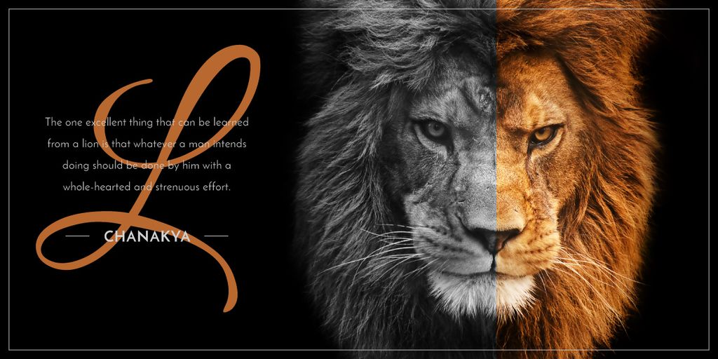 lion's head on black background Image Design Template
