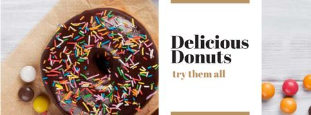 Modèle de visuel Sweet glazed Donuts with sprinkles - Facebook cover