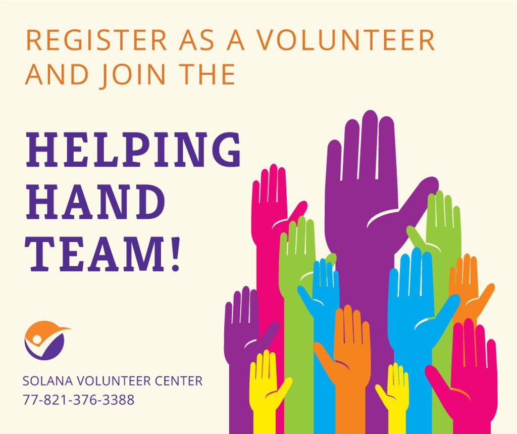 Modèle de visuel Volunteering team colorful Hands Raised - Facebook