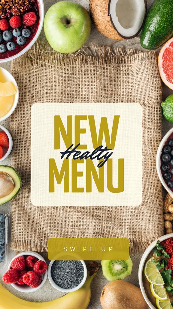 Healthy Menu Ad with Fresh Fruits — Maak een ontwerp
