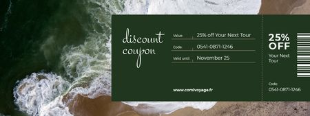 Designvorlage Discount Offer on Travel Tour with Seacoast für Coupon