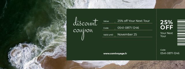 Template di design Discount Offer on Travel Tour with Seacoast Coupon