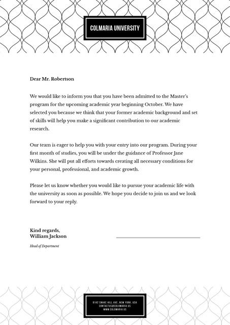 University enrollment verification Letterhead Design Template