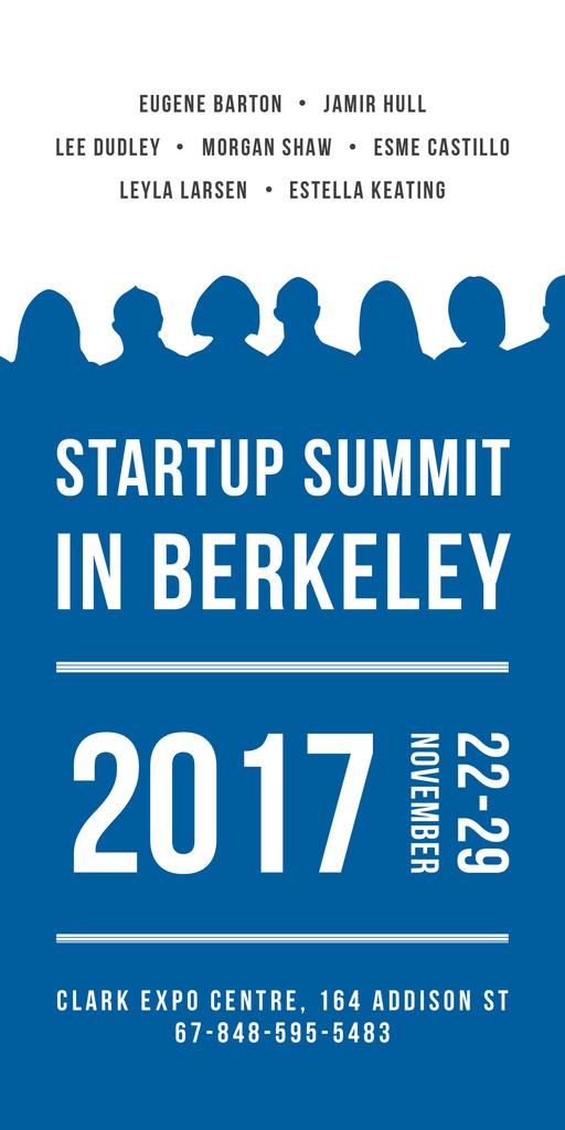 Startup Summit Announcement Businesspeople Silhouettes — Modelo de projeto