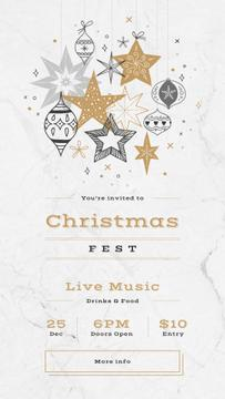 Christmas Party Invitation with Shiny Christmas decorations