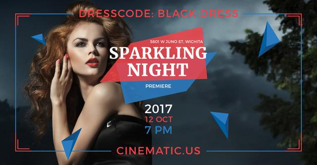 Sparkling night party Annoucement Facebook AD – шаблон для дизайна