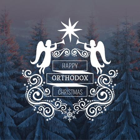 Ontwerpsjabloon van Instagram van Orthodox Christmas Greeting with Snowy Forest