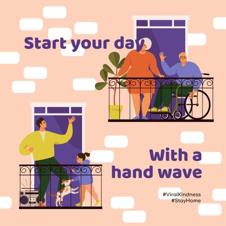 Plantilla de diseño de #ViralKindness Neighbors communicating on balconies Instagram