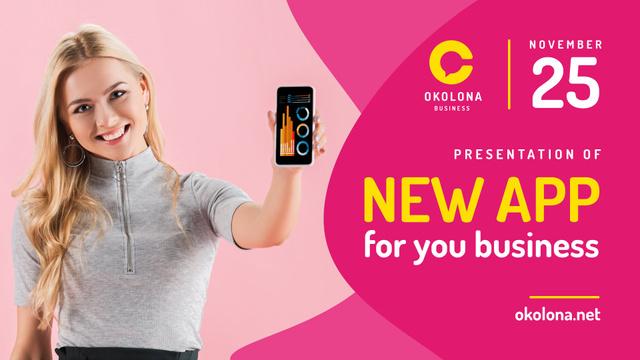 Plantilla de diseño de Woman holding Phone with Application on Screen FB event cover