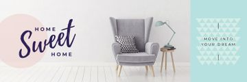 Cozy Interior Armchair Grey Color | Twitter Header Template