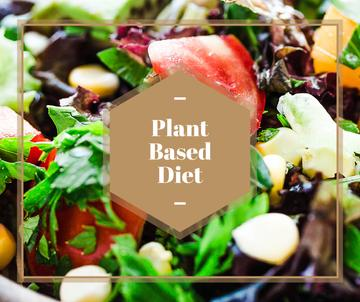 plant based diet poster with fresh vegetable salad