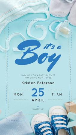 Plantilla de diseño de Baby Shower Invitation Kids Stuff in Blue Instagram Story